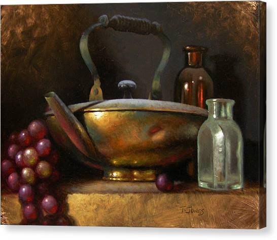 Brass Teapot And Antique Glass Canvas Print by Timothy Jones