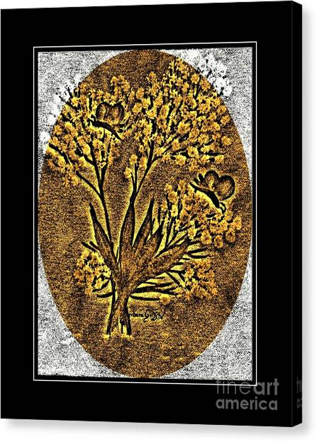 Brass Etching Canvas Print - Brass-type Etching - Oval - Butterflies And Babies Breath by Barbara Griffin