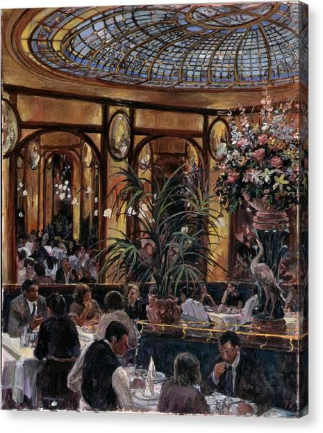 Parisian Canvas Print - Brasserie Bofinger In The Rue De La Bastille, Paris, 1999 Oil On Canvas by Rosemary Lowndes