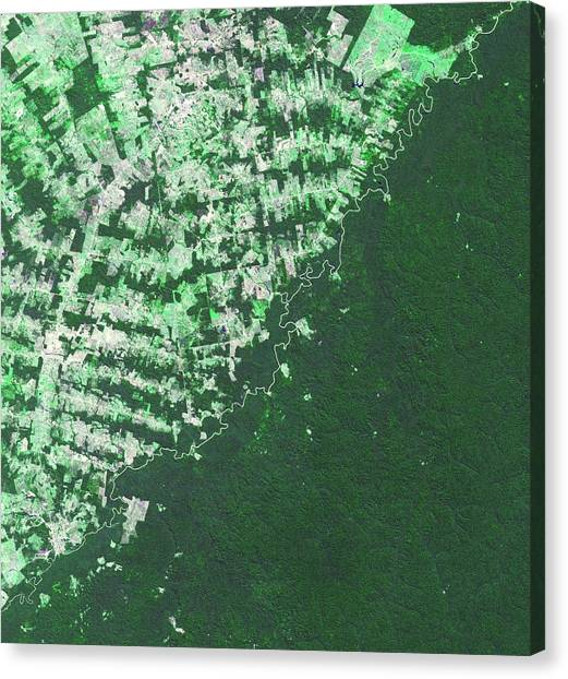 Bolivian Canvas Print - Brazil-bolivia Border by Nasa/gsfc/meti/ersdac/jaros, And U.s./japan Aster Science Team