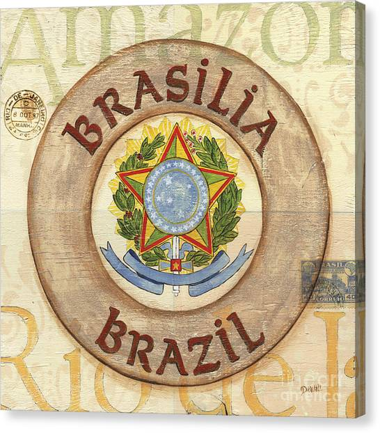 South American Canvas Print - Brazil Coat Of Arms by Debbie DeWitt
