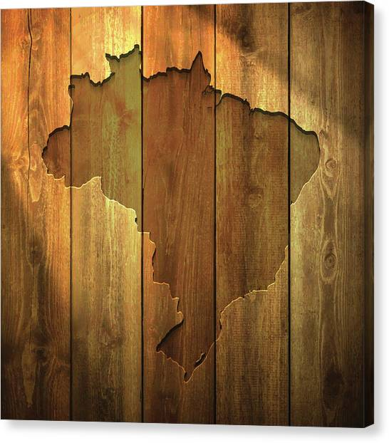Brazil Map On Lit Wooden Background Canvas Print by Bgblue