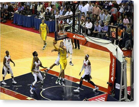 Basketball Teams Canvas Print - Brazil Olympic Layup by Steven Hanson