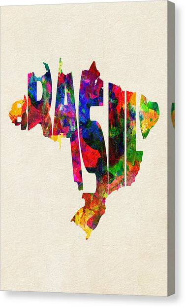 Brazilian Canvas Print - Brazil Typographic Watercolor Map by Inspirowl Design