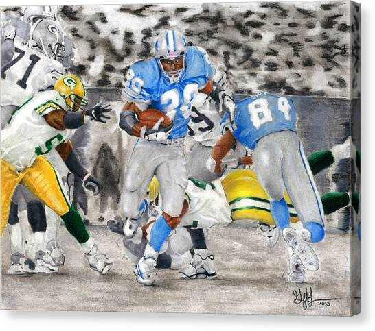 Barry Sanders Canvas Print - Breakaway by Geoff Hinkley