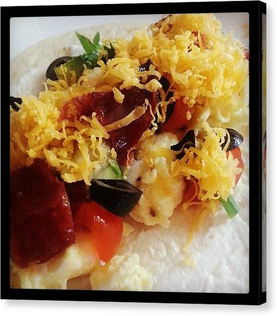 Salsa Canvas Print - #breakfast #burritos #breakfastburritos by Alyson Schwartz