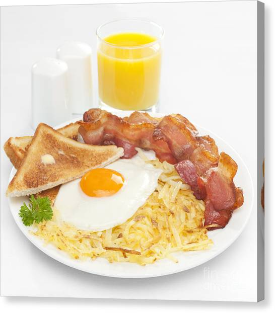 Bacon Canvas Print - Breakfast Hash Browns Bacon Fried Egg Toast Orange Juice by Colin and Linda McKie