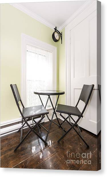 Folding Chairs Canvas Print - Breakfast Nook In Rustic House by Elena Elisseeva