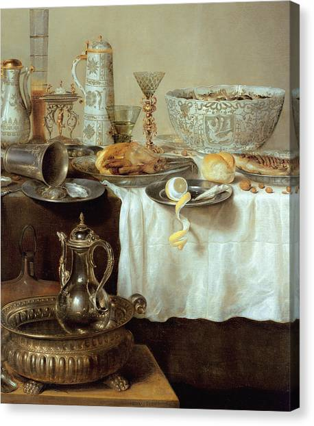 Peel Canvas Print - Breakfast Still Life by Willem Claesz Heda