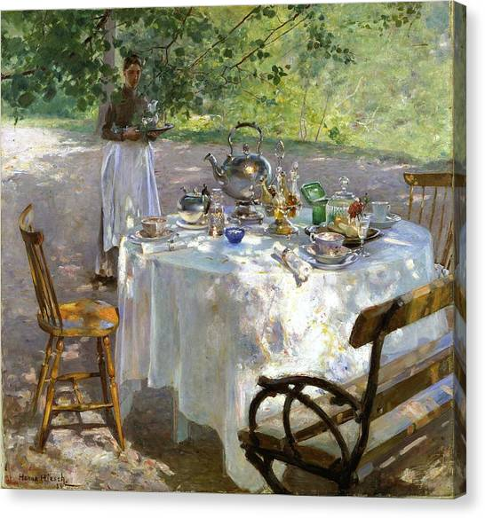 Canvas Print featuring the painting Breakfast Time by Hanna Pauli
