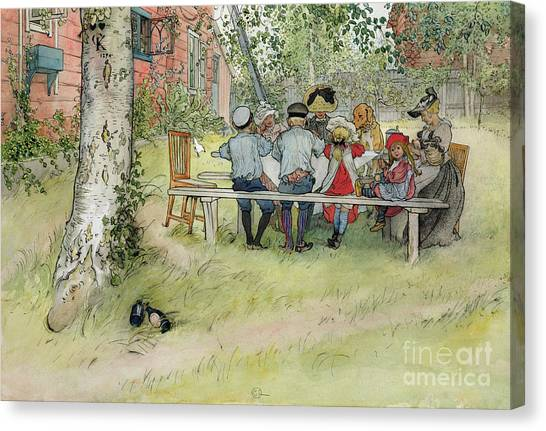 Fresco Canvas Print - Breakfast Under The Big Birch by Carl Larsson