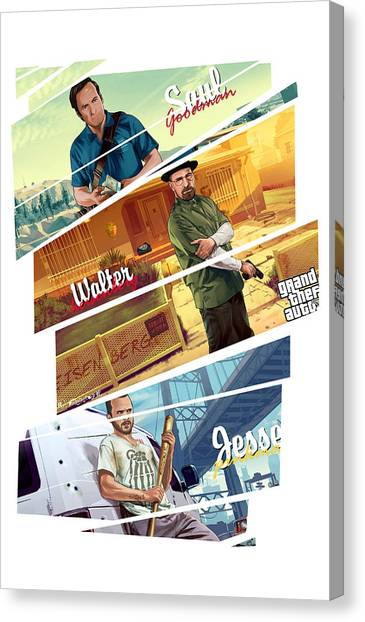 Grand Theft Auto Canvas Print - Breaking Bad Mashup Gta V by Akyanyme