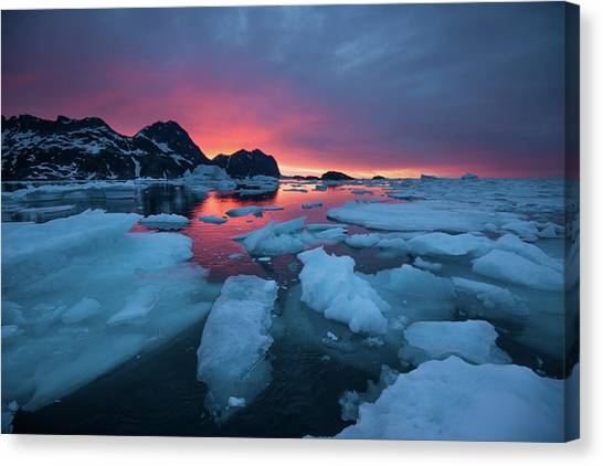 Canvas Print - Breaking Ice At Sunrise by Andy Mann