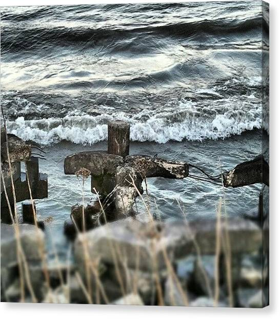 Lake Michigan Canvas Print - Breaking Waves by Erin Britton