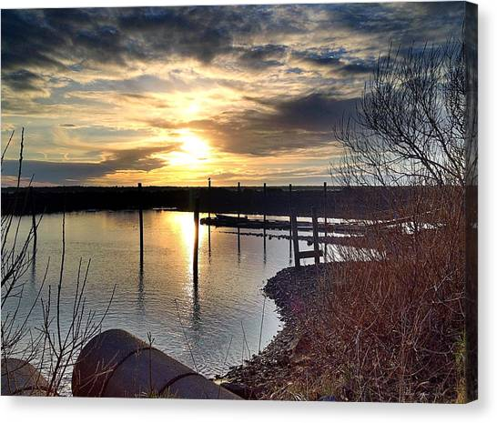 Canvas Print featuring the photograph Breakwater Boat Dock Sunset by Chriss Pagani