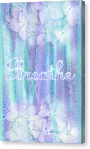 Breathe Refreshing Hydrangea Turquoise Purple Watercolor Canvas Print