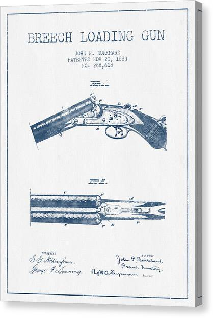 Shotguns Canvas Print - Breech Loading Gun Patent Drawing From 1883 -  Blue Ink by Aged Pixel