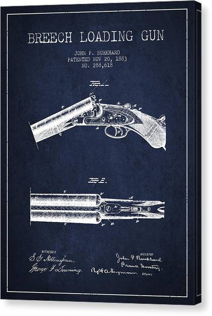 Shotguns Canvas Print - Breech Loading Gun Patent Drawing From 1883 - Navy Blue by Aged Pixel