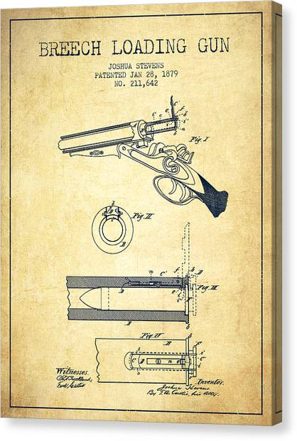 Shotguns Canvas Print - Breech Loading Shotgun Patent Drawing From 1879 - Vintage by Aged Pixel