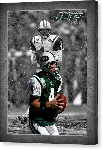 New York Jets Canvas Print - Brett Favre Jets by Joe Hamilton