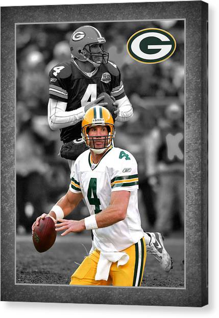 Green Bay Packers Canvas Print - Brett Favre Packers by Joe Hamilton
