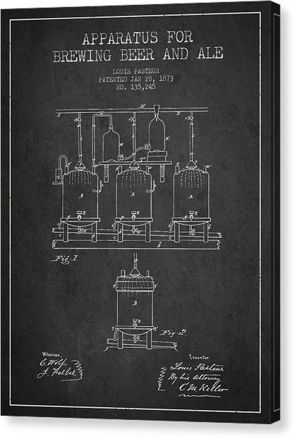 Keg Canvas Print - Brewing Beer And Ale Apparatus Patent Drawing From 1873 - Dark by Aged Pixel