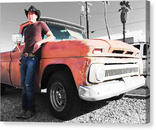 Brian Shotwell And A Truck Canvas Print