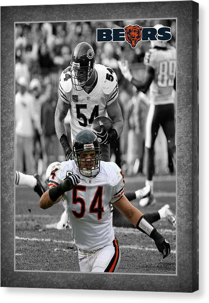 Chicago Bears Canvas Print - Brian Urlacher Bears by Joe Hamilton