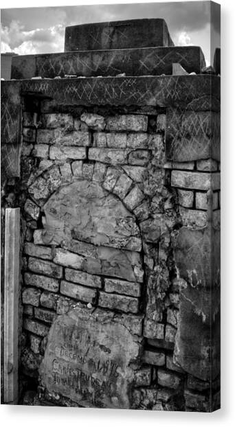 Brick Oven Grave In Black And White Canvas Print