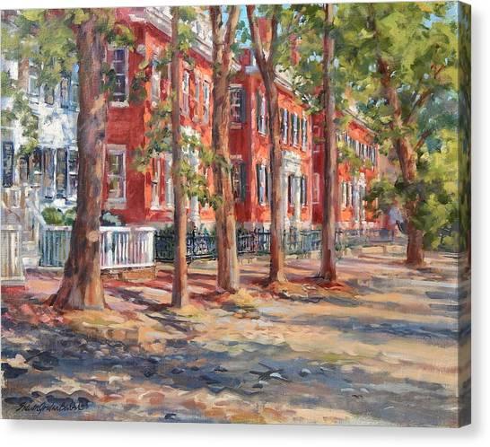 Brick Row Of Nantucket Canvas Print by Sharon Jordan Bahosh