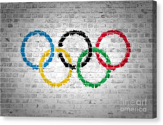 Brick Wall Olympic Movement Canvas Print
