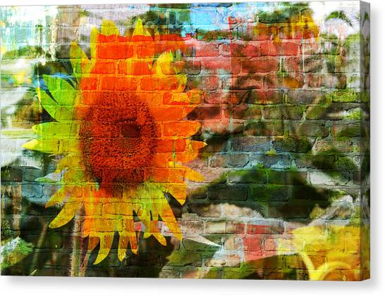 Bricks And Sunflowers Canvas Print