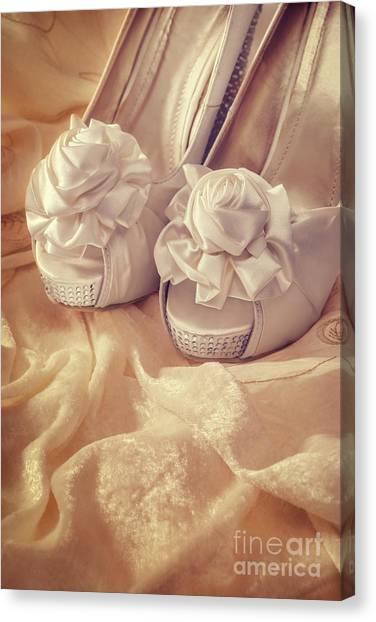 Bridal Canvas Print - Bridal Sandals by Amanda Elwell