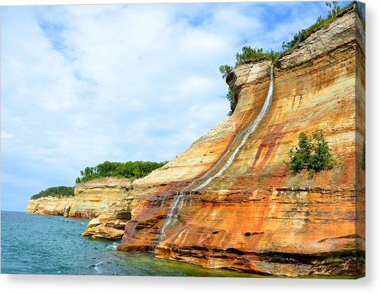 Bridal Veil Falls Pictured Rocks Michigan Canvas Print by Forest Floor Photography