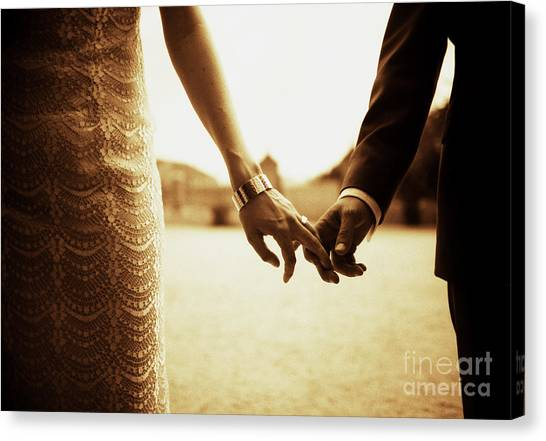 Bride And Groom Holding Hands In Sepia - Analog 35mm Black And White Film Photo Canvas Print by Edward Olive