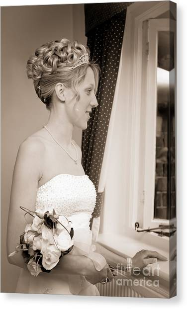 Wedding Bouquet Canvas Print - Bride Awaits Her Groom by Amanda Elwell