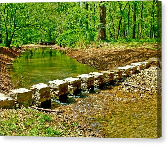 Bridge Across Colbert Creek At Mile 330 Of Natchez Trace Parkway-alabama Canvas Print