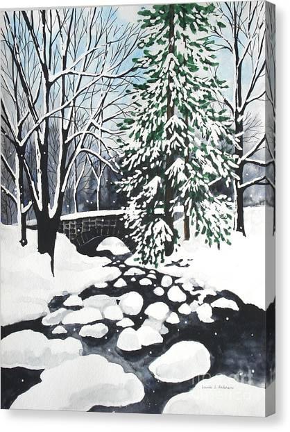 Bridge And Creek - Mill Creek Park Canvas Print