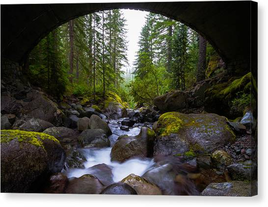 Rainier Canvas Print - Bridge Below Rainier by Chad Dutson