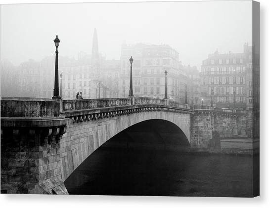 Town Canvas Print - Bridge In The Mist by Madras91