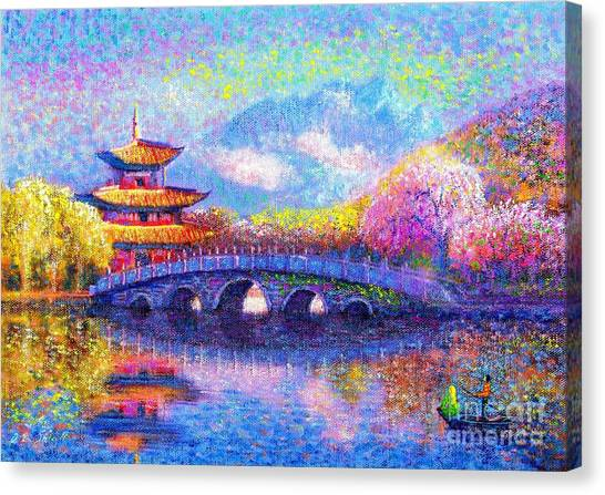 Japanese Gardens Canvas Print - Bridge Of Dreams by Jane Small