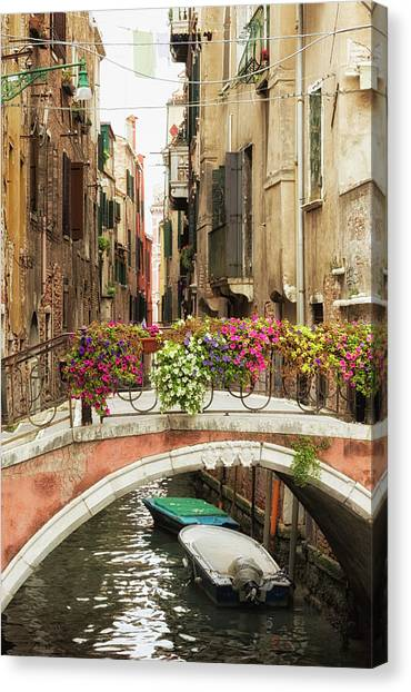 Bridge Over A Canal With Flowers, Venice Canvas Print