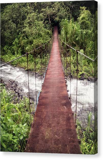 Arenal Volcano Canvas Print - Bridge Over A River, Costa Rica by Brent Olson