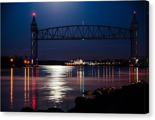 Bridge Over Moonlit Water Canvas Print