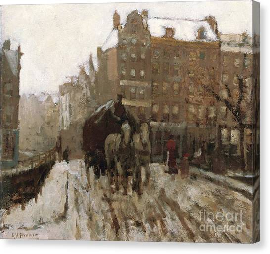 Horse And Carriage Canvas Print - Bridge Over Singel Canal By The Paleisstraat by Georg Hendrik Breitner