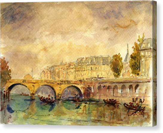 Cathedrals Canvas Print - Bridge Over The Seine Paris. by Juan  Bosco