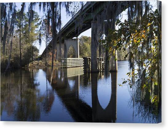 Bridge Over The Waccamaw On An Autumn Afternoon Canvas Print