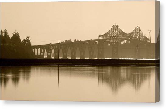 Bridge Reflection In Sepia Canvas Print