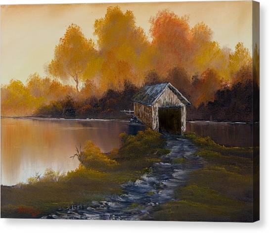 Bob Ross Canvas Print - Covered Bridge In Fall by Chris Steele