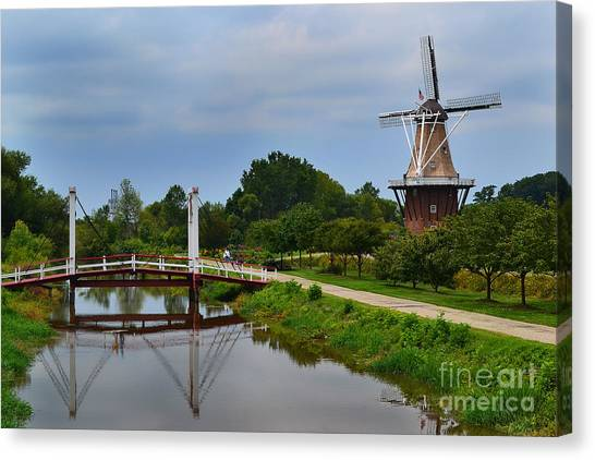 Bridge To Holland Windmill Canvas Print